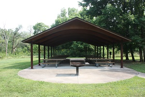 the picnic shelter with a large grill