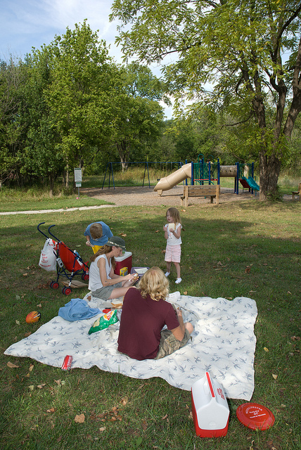 a family enjoys a picnic on a blanket in a grassy area near the playground