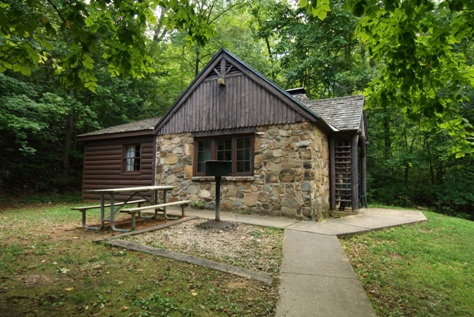 A stone cabin built by the Civilian Conservation Corps