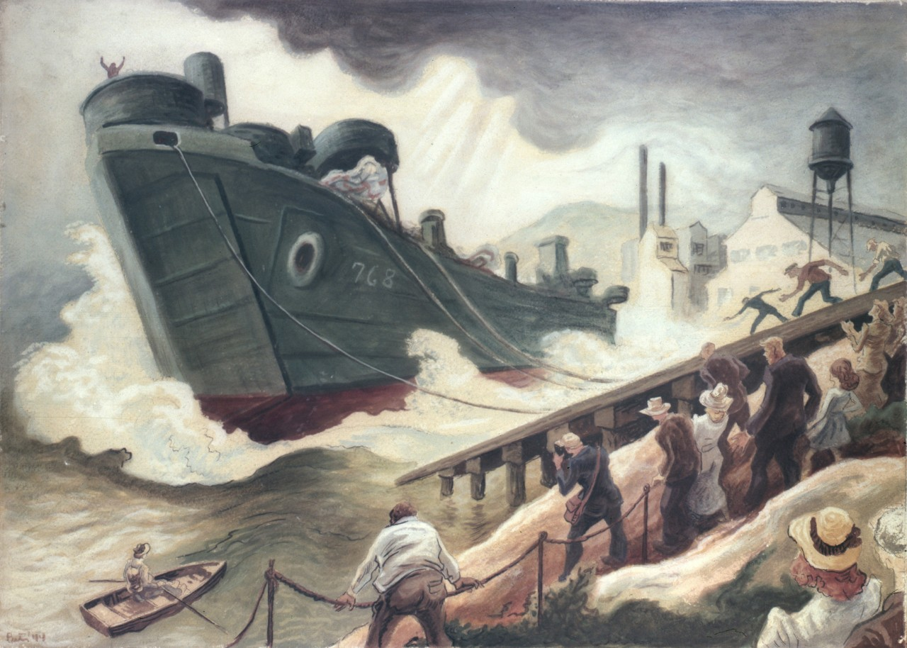 painting of people watching a ship launch