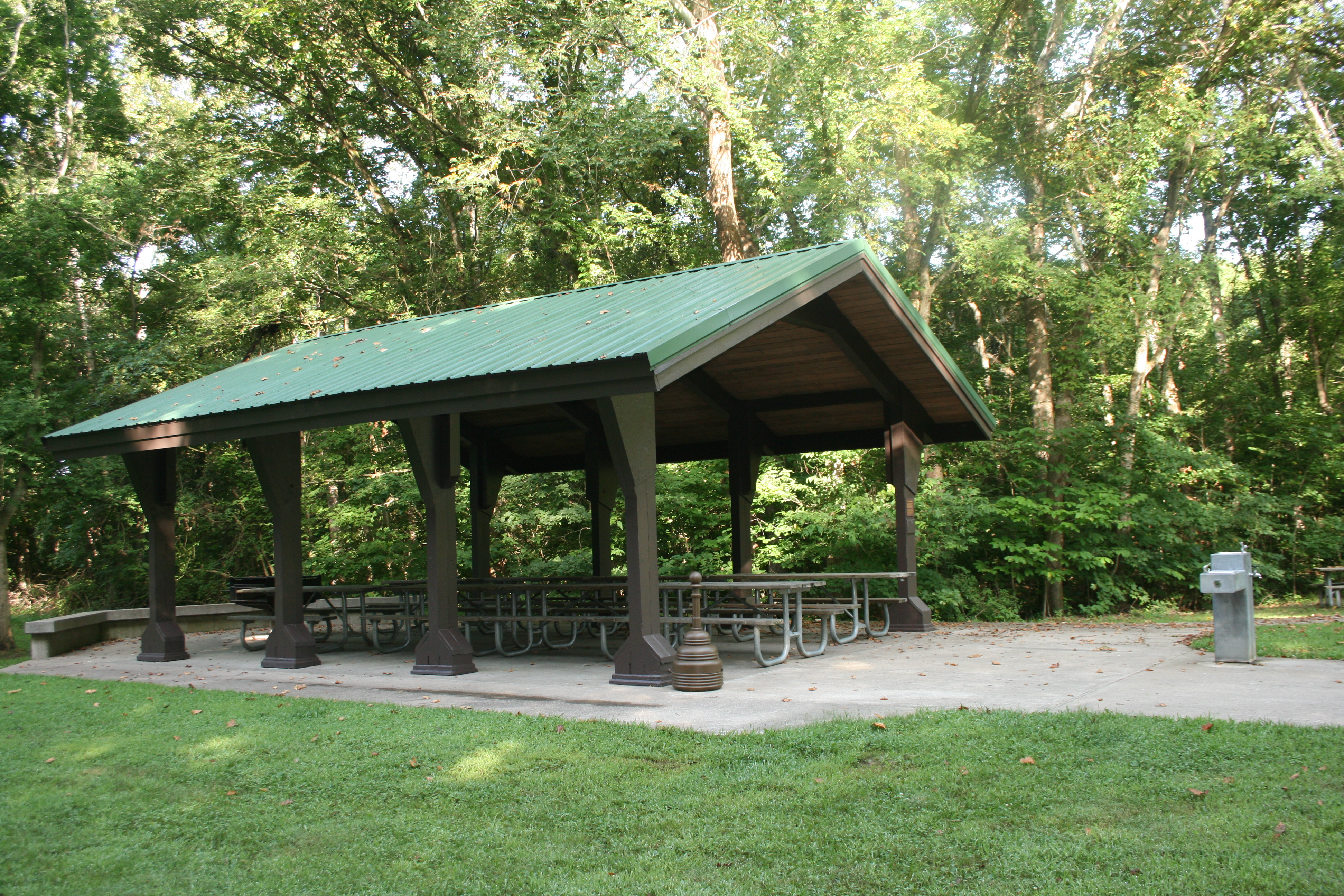 picnic shelter and water fountain