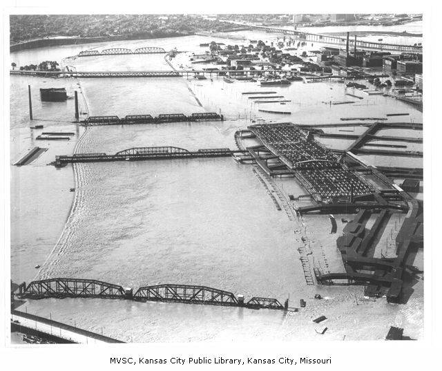 aerial photo of the stockyards during the flood