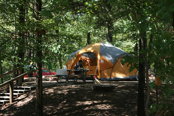 tent set up on one of the platforms sites under lots of shade trees