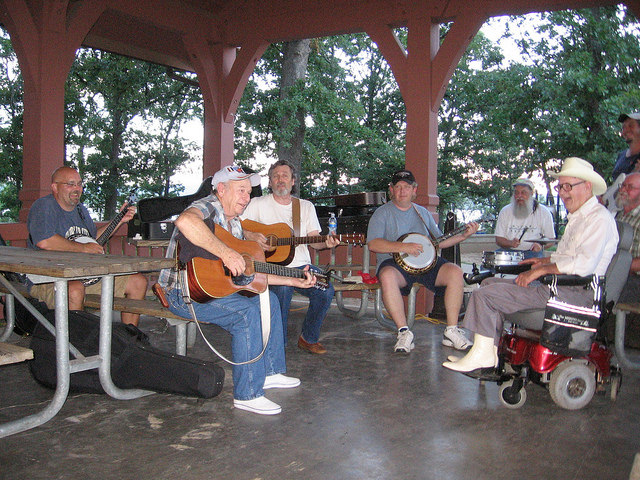 people playing guitars and a banjo under the park's pavilion