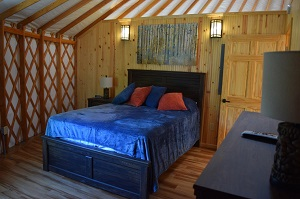 bed inside the yurt