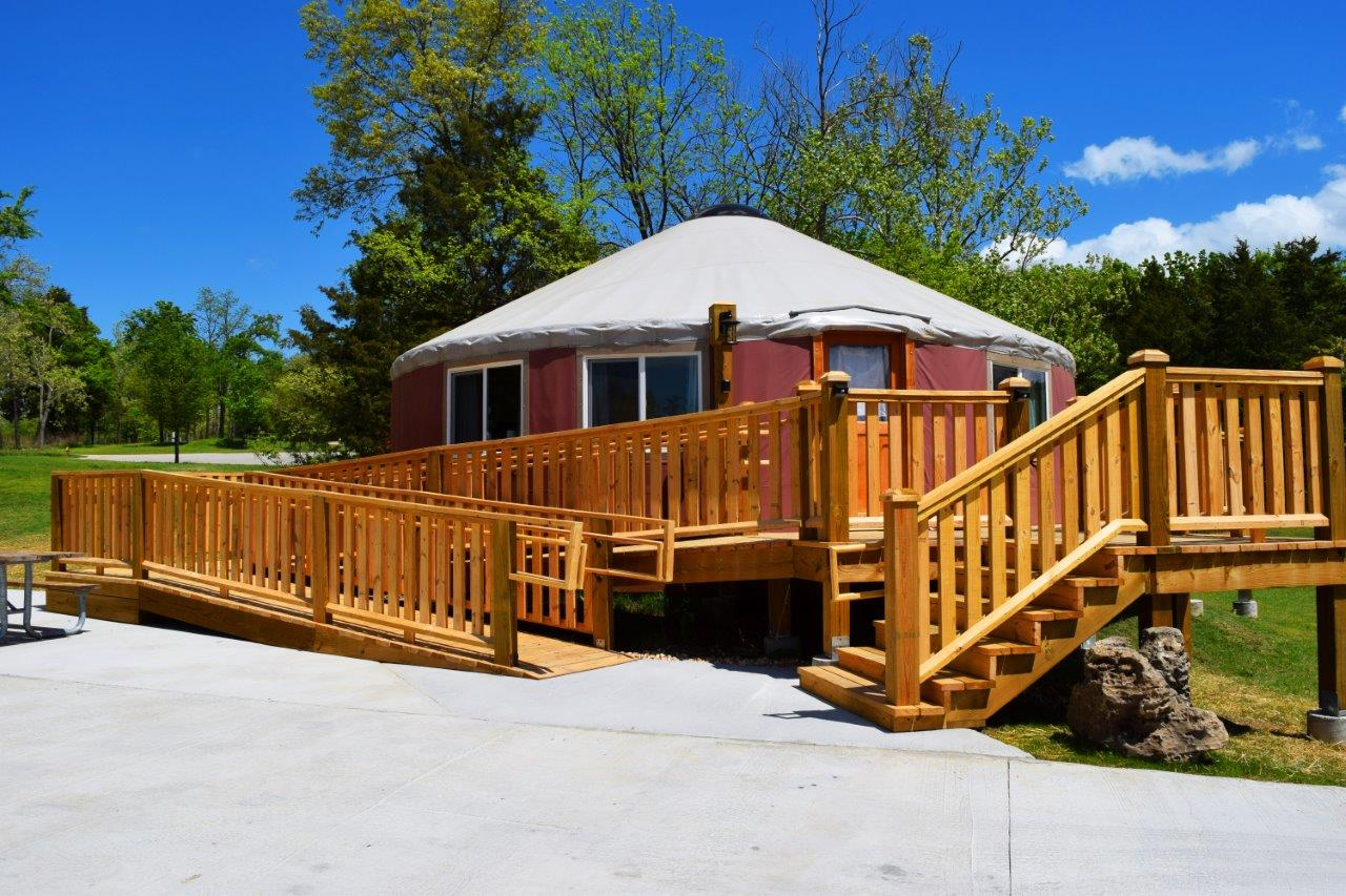 exterior of the yurt and the ramp leading to it