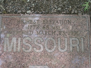 marker noting the highest elevation point in Missouri