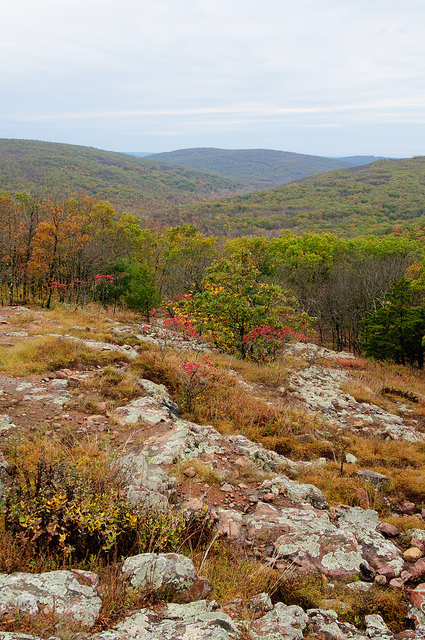 a view from a rocky outcrop of the mountains in the distance dotted with fall color
