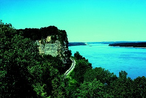 view of the Mississippi River, a bluff and the railroad tracks from the overlook