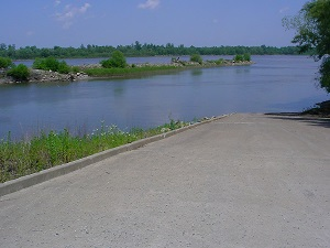 a long concret boat ramp