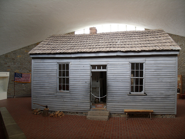 small cabin where Twain was born sits inside the museum