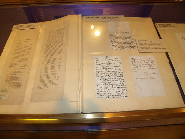 hand-written manuscript of The Adventures of Tom Sawyer