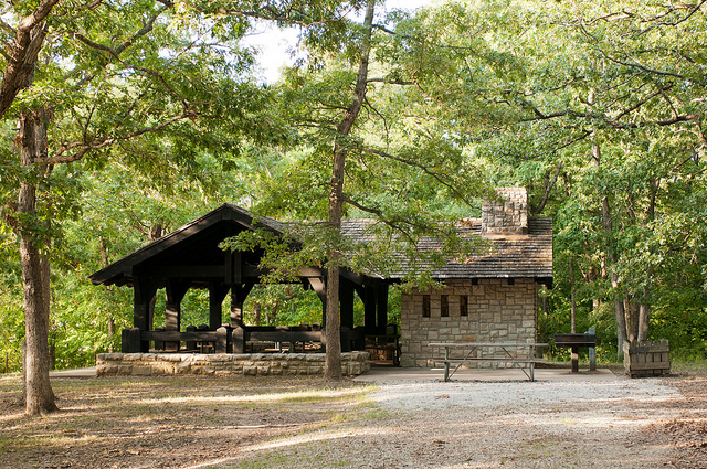 historc stone Buzzard's Roost picnic shelter