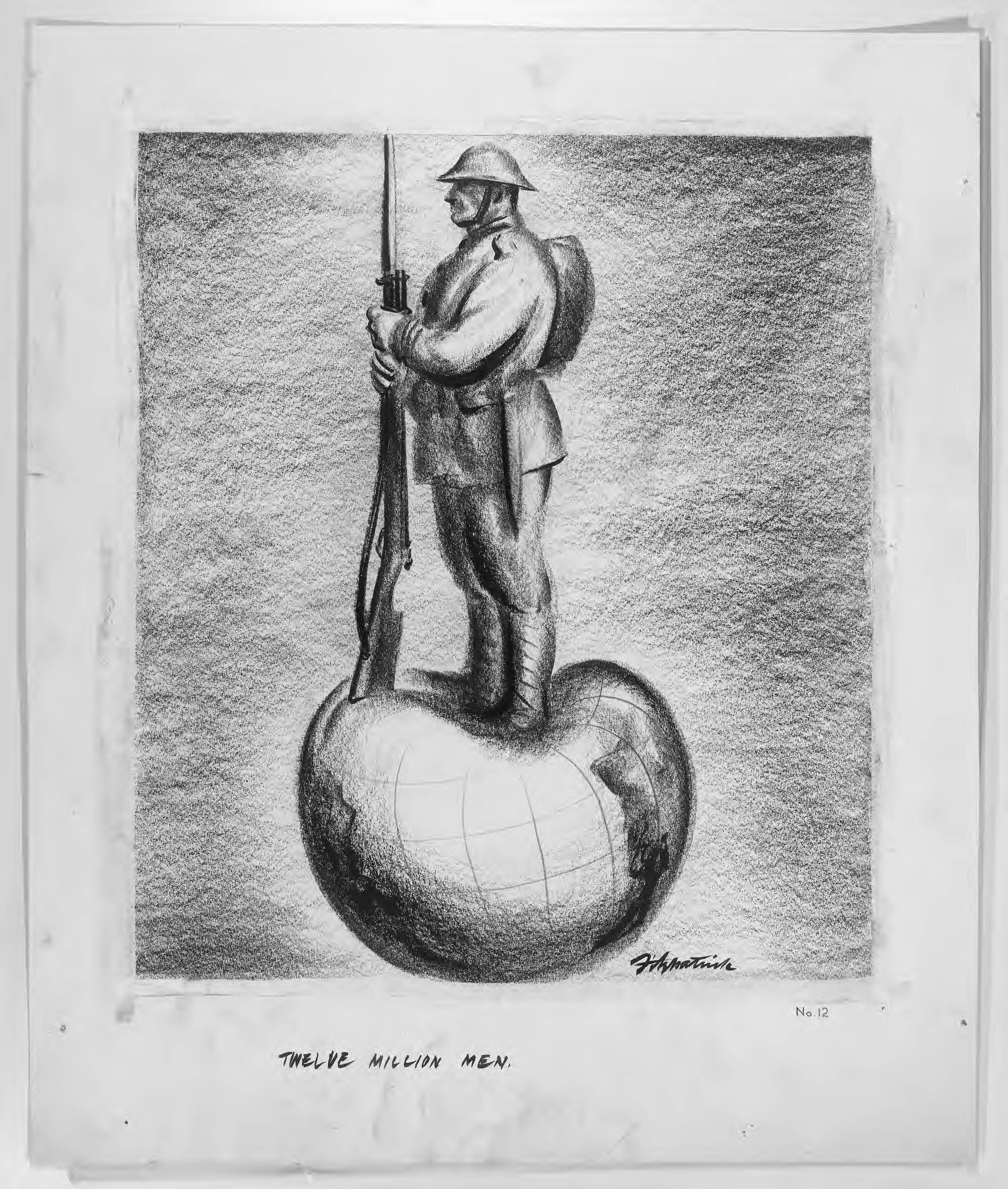 drawing depicting a soldier with a gun standing on top fo the globe smashing it in