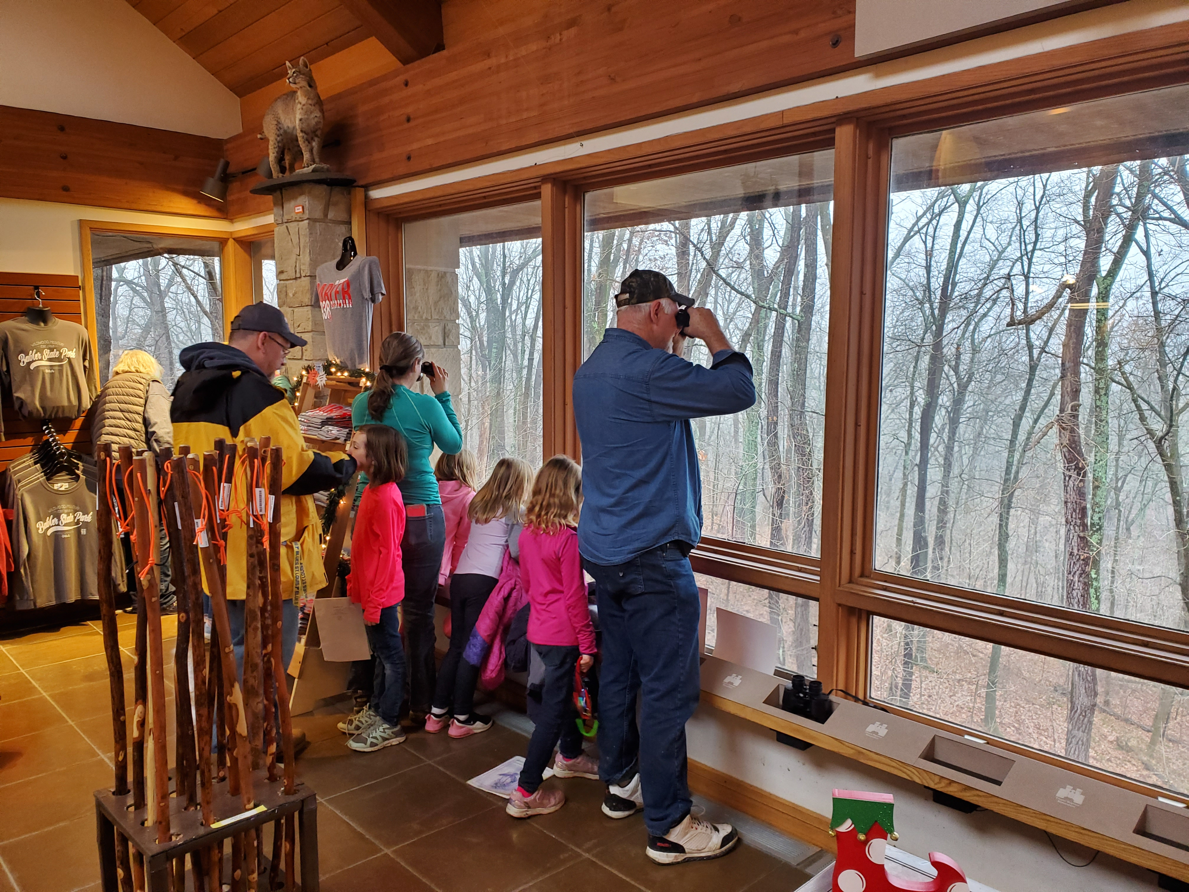 Guests at the visitor center's viewing area use binoculars to look into the woods through large windows