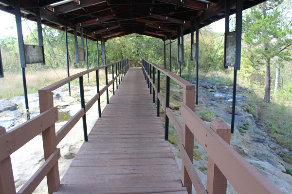 a boardwalk and shelter that leads to the petroglyphs