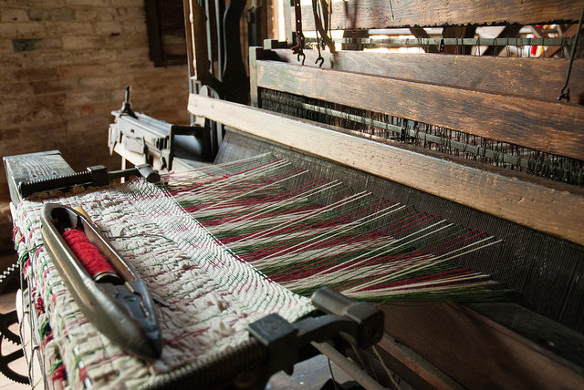 a weaving machine inside the mill