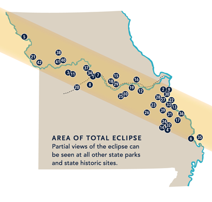 map of eclipse area across Missouri
