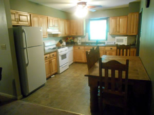 kitchen with refridgerater, stove and dining table and chairs