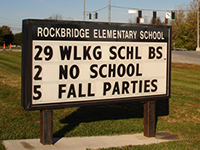 a sign at Rockbridge Elementary advertising the Walking School Bus date